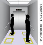 social distancing at elevator.... | Shutterstock .eps vector #1719220099