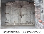 Wooden Gates Shut Antique Old...