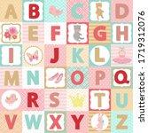 cute alphabet set. little girl... | Shutterstock .eps vector #1719312076