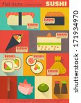set of retro sushi labels in...
