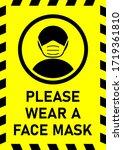 please wear a face mask... | Shutterstock .eps vector #1719361810
