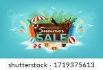 summer sale design with flower  ... | Shutterstock .eps vector #1719375613