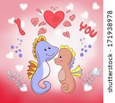 lovers seahorses greeting card...   Shutterstock . vector #171938978