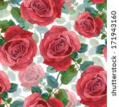 seamless background with roses. ... | Shutterstock . vector #171943160
