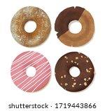 sweet donut set watercolor...   Shutterstock . vector #1719443866