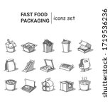 fast food packaging line icons. ... | Shutterstock .eps vector #1719536236