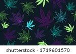 Vector Seamless Cannabis Neon...
