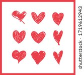 doodle hearts  hand drawn love... | Shutterstock .eps vector #1719612943