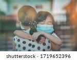 Cute Child Daughter Hugging...