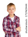 seriously offended young boy in ... | Shutterstock . vector #171965444