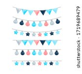 garland set isolated on a white ...   Shutterstock . vector #1719689479
