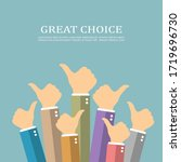 great choice concept  thumbs up ... | Shutterstock .eps vector #1719696730