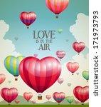 heart shaped hot air balloons... | Shutterstock .eps vector #171973793