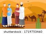flat design of muslim peoples... | Shutterstock .eps vector #1719753460