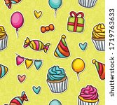 doodle seamless pattern icons... | Shutterstock .eps vector #1719763633