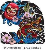hand drawn doll daruma and thai ... | Shutterstock .eps vector #1719780619