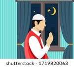 pray from home   praying in the ... | Shutterstock .eps vector #1719820063