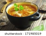 Cabbage Soup With Meat. Russia...