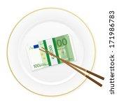 plate  chopsticks and euro... | Shutterstock .eps vector #171986783