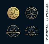 set vintage brewery logo ... | Shutterstock .eps vector #1719868186