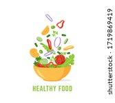 green salad of fresh vegetables.... | Shutterstock .eps vector #1719869419