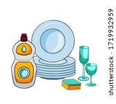 composition of dishwashing... | Shutterstock .eps vector #1719932959