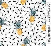 summer pineapple on black hand... | Shutterstock .eps vector #1719941920
