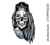 gangster chicano girl with... | Shutterstock . vector #1719993220