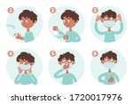 a boy shows how to wear a...   Shutterstock .eps vector #1720017976