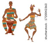 african ritual dance. man plays ... | Shutterstock .eps vector #1720042363