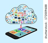 cloud concept with applications ...   Shutterstock . vector #172009688