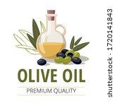glass bottle of olive oil and...   Shutterstock .eps vector #1720141843
