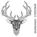 Deer Head Tattoo. Psychedelic