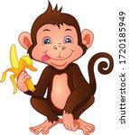 Cute Monkey Cartoon Holding A...