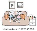 two little girls sitting on... | Shutterstock .eps vector #1720199650