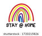 stay at home rainbow...   Shutterstock .eps vector #1720215826