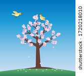 a cherry blossom tree and two... | Shutterstock .eps vector #1720218010