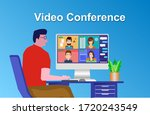 video conference. people on... | Shutterstock . vector #1720243549