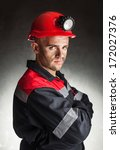 portrait of serious coal miner... | Shutterstock . vector #172027376