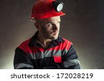 portrait of serious coal miner... | Shutterstock . vector #172028219