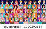 a crowd of people in an... | Shutterstock .eps vector #1720293859