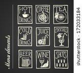 menu icon   drinks blackboard   Shutterstock .eps vector #172033184