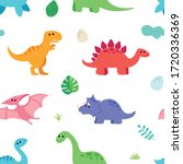 Cute Dinosaurs Pattern With...