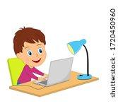 little cartoon boy using...   Shutterstock .eps vector #1720450960