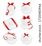 card with red ribbon and bow... | Shutterstock .eps vector #1720483966