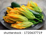 Vegetable  Zucchini With Flowe...