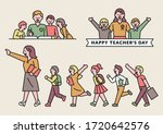 teachers and young students.... | Shutterstock .eps vector #1720642576