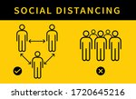 social distancing. keep the 1 2 ... | Shutterstock .eps vector #1720645216