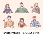 people are sitting at the table ... | Shutterstock .eps vector #1720651246