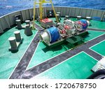 Small photo of Forecastle deck of tug boat. Ahts vessel forward mooring station.
